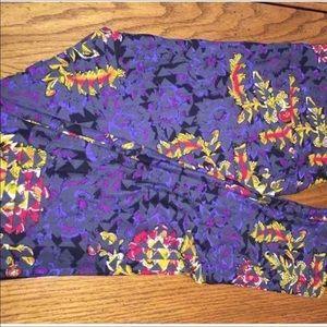 LuLaRoe Pants - LuLaRoe TC Geometric Floral Grey Purple Black New